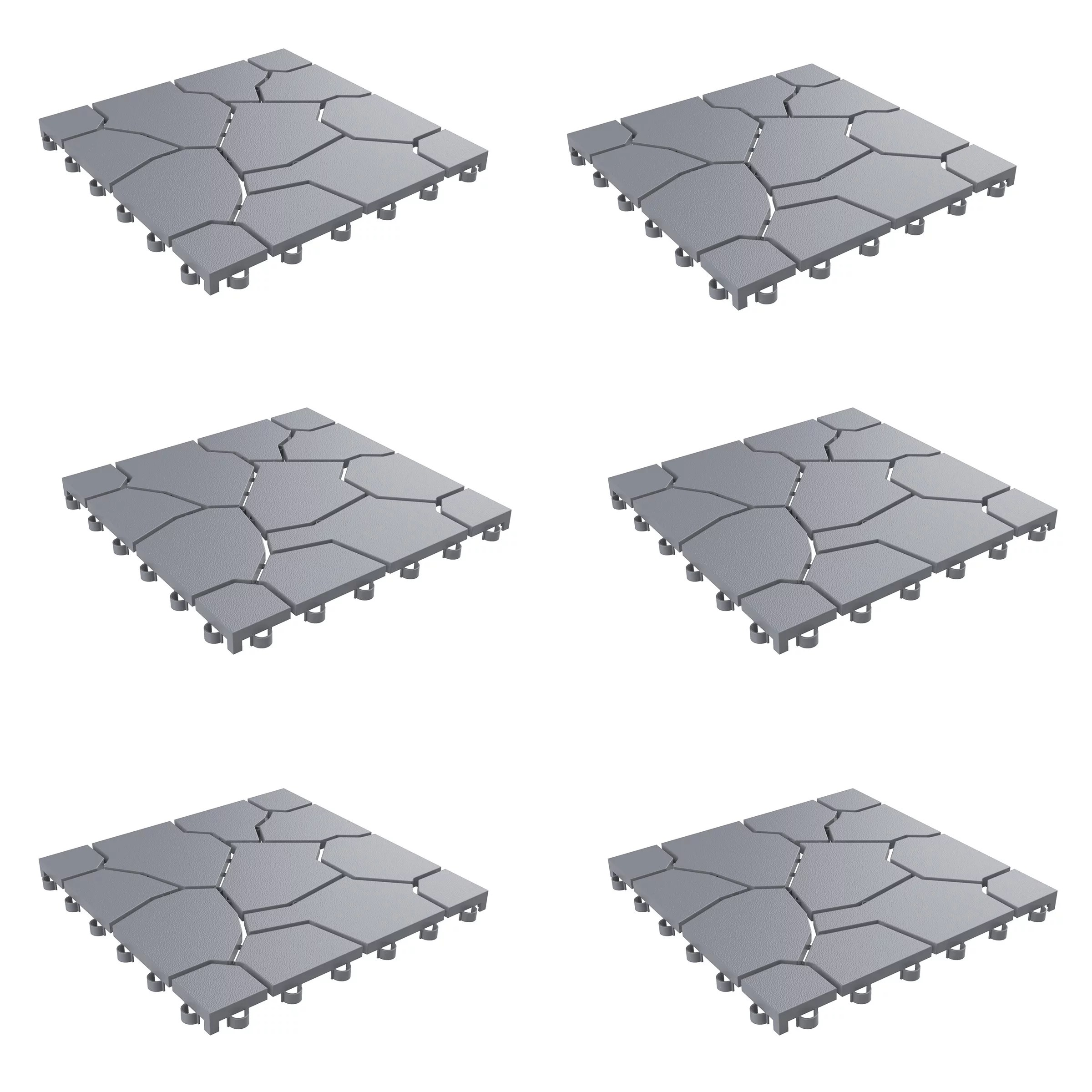 patio and deck tiles interlocking stone look outdoor flooring pavers weather resistant and anti slip square diy mat by pure garden grey set of 6