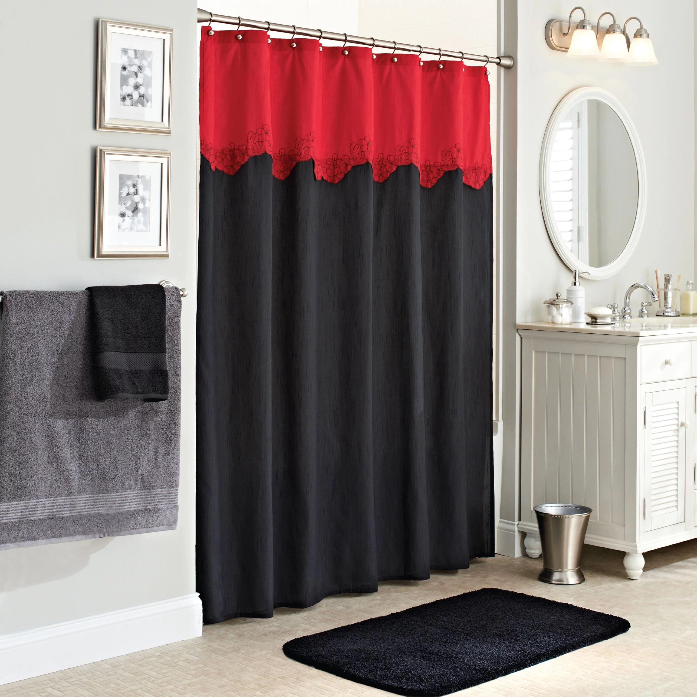 better homes gardens gardenia fabric black red shower curtain 1 each walmart com