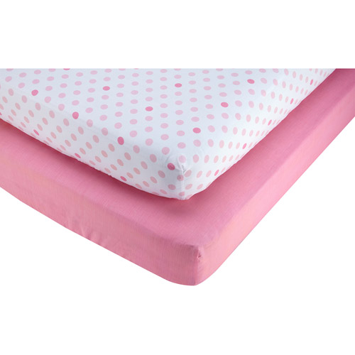 Little Bedding by Nojo Pink and Polka Dot 2-Pack Crib Sheet, Girl