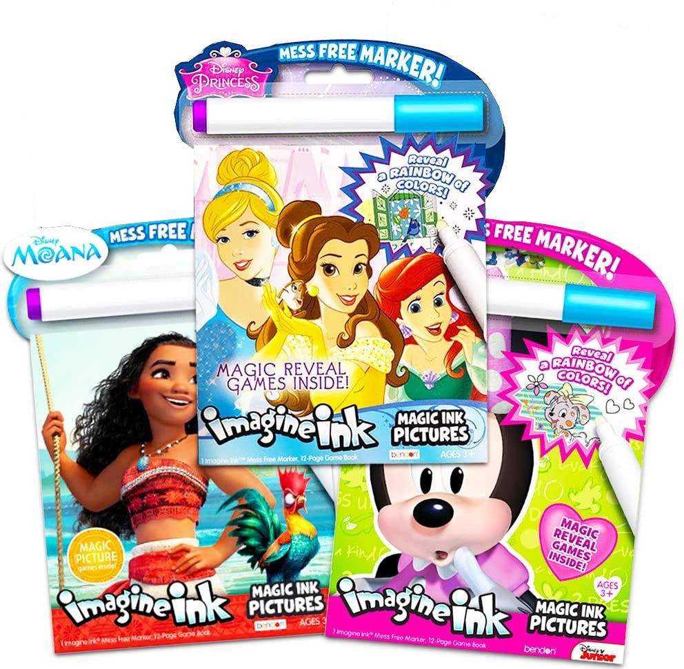Disney Princess Magic Ink Coloring Book Set Bundle Of 3 Imagine Ink Books For Girls Kids Toddlers Featuring Disney Princess Moana And Minnie Mouse With Invisible Ink Pens Walmart Com Walmart Com
