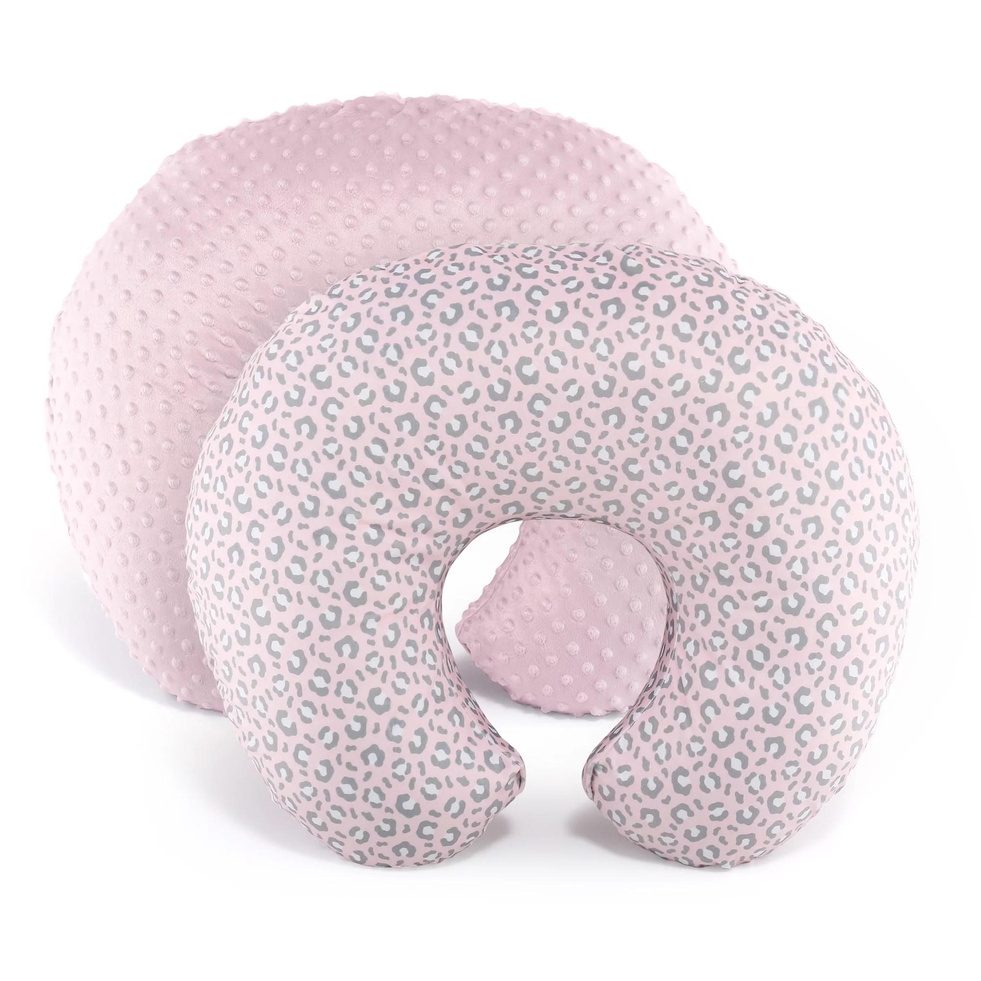 the peanutshell girl nursing pillow cover pink leopard pink minky dot 2 pack set walmart com