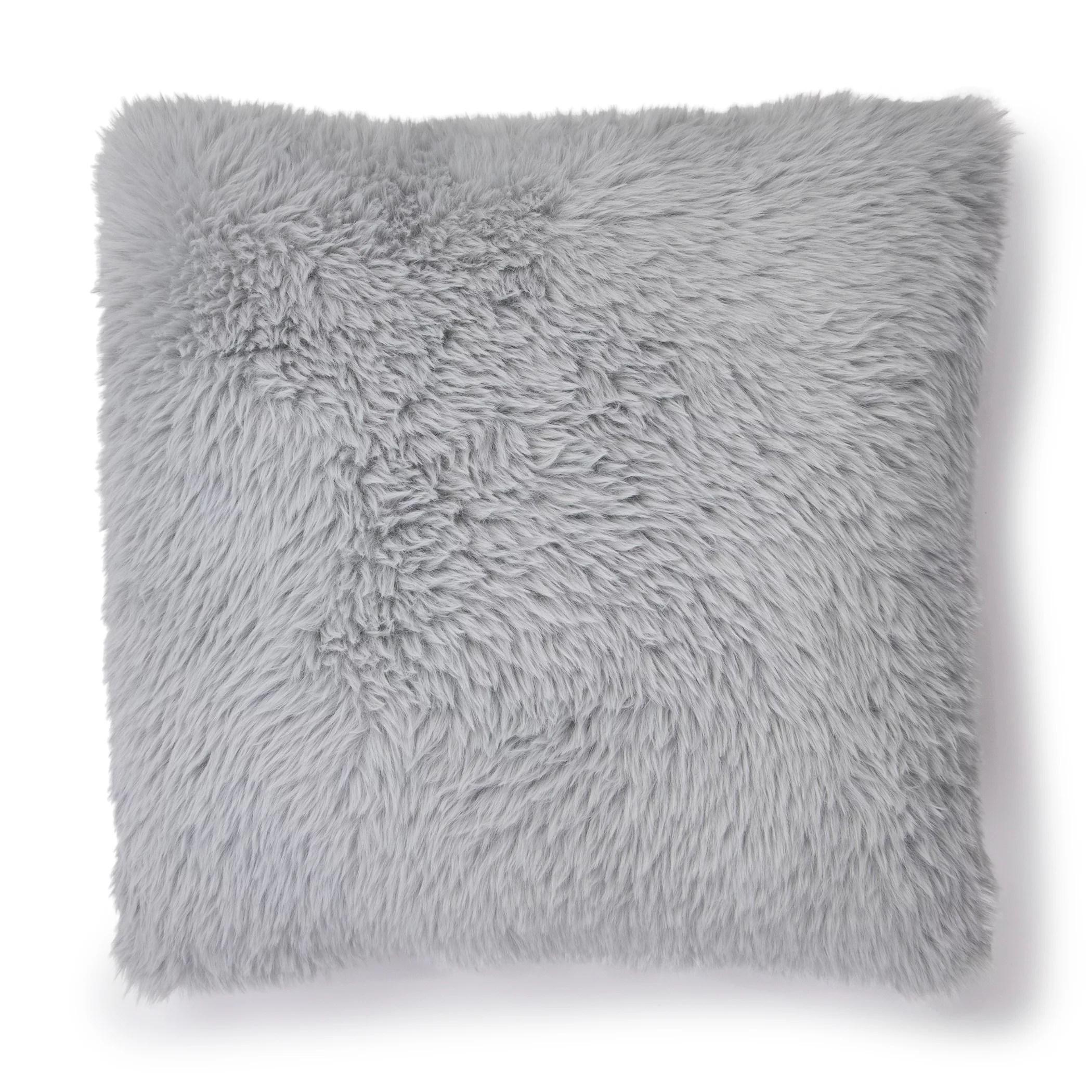 mainstays rabbit fur decorative throw pillow 20 x 20 square gray walmart com
