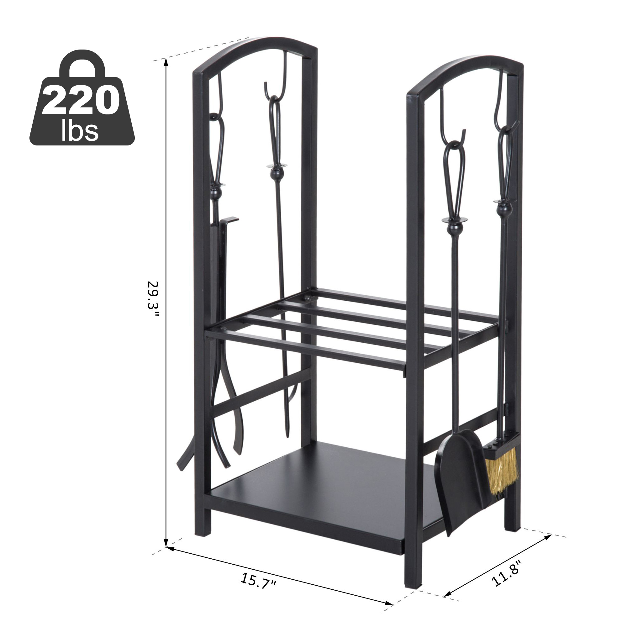 Heavy Duty Firewood Rack With Accessories Indoor Outdoor Log Holder Fire Wood Storage With 4 Tools Black Walmart Canada