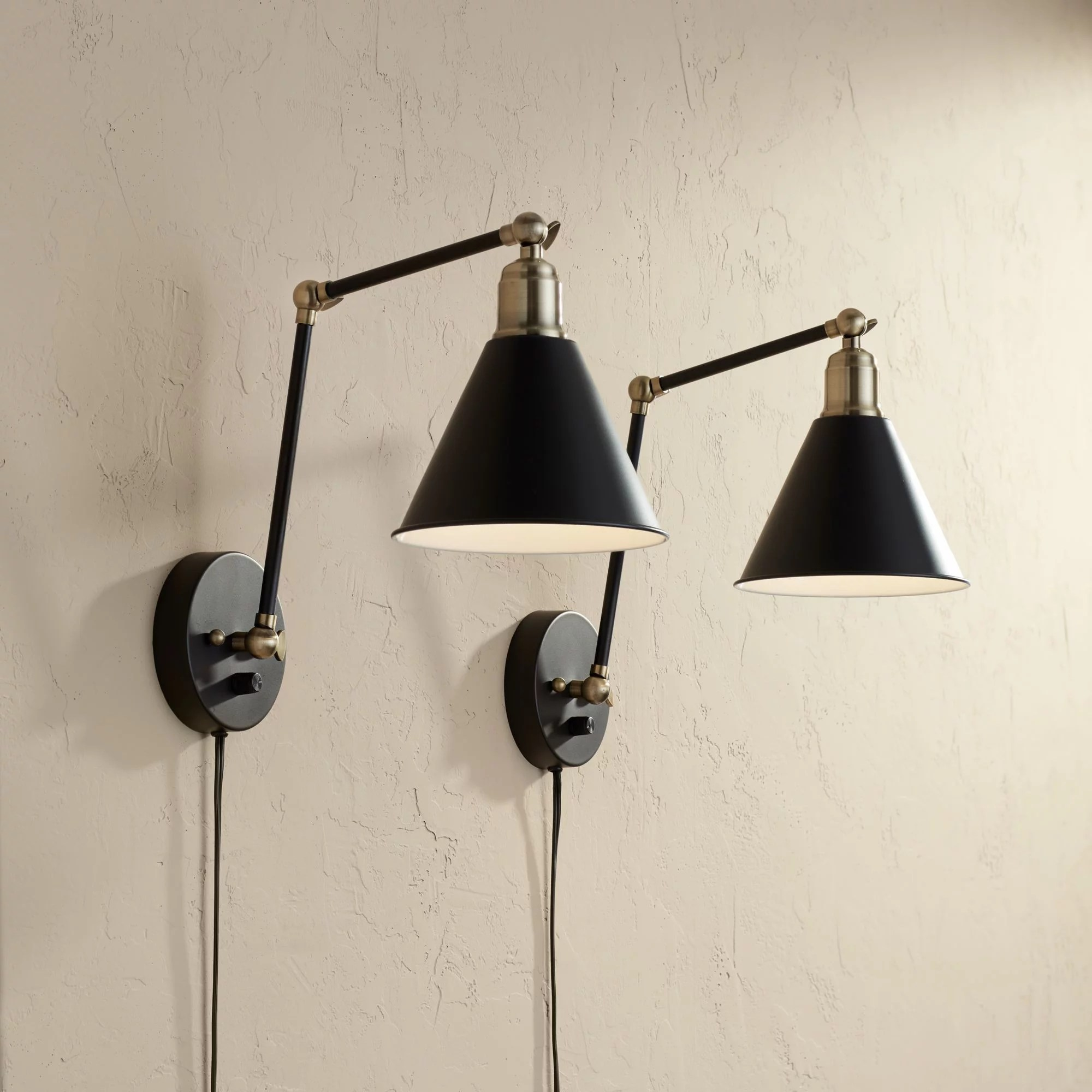 360 Lighting Modern Wall Lamp Plug In Set Of 2 Black And Antique Brass For Bedroom Reading Living Room Walmart Com Walmart Com