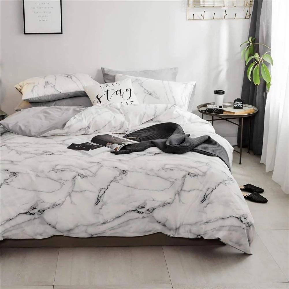 white marble duvet cover set cotton
