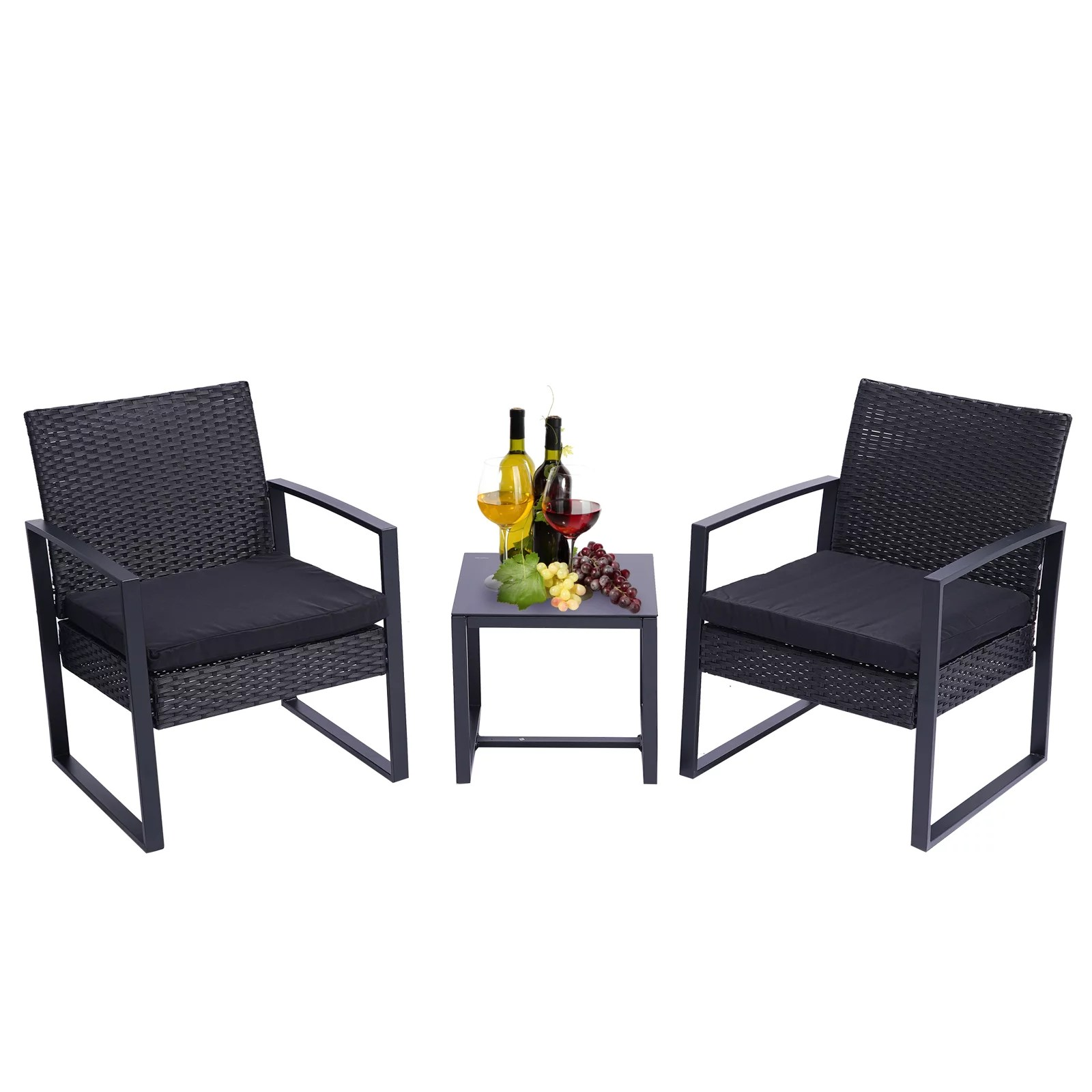 clearance sale 3 pieces patio set outdoor wicker patio furniture sets modern set rattan chair conversation sets with coffee table for yard and bistro