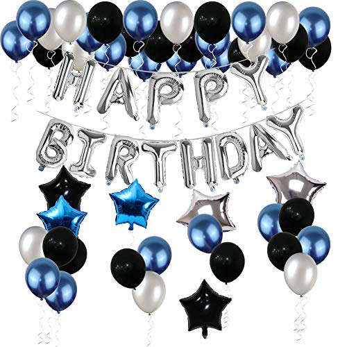 21st Birthday Decorations Yoart 21 Birthday Party Decoration Balloons Party Supplies Blue And Silver Black Foil Star Balloons For Women Men 80pcs Walmart Com Walmart Com