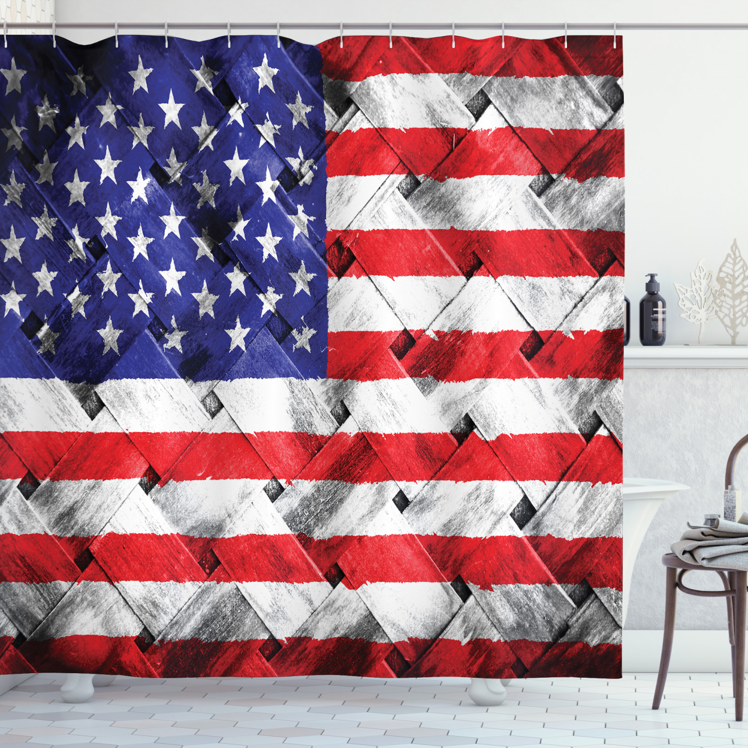 rustic decor american usa flag shower curtain set fourth of july independence day thatch rattan rippled weave bamboo graphic art bathroom
