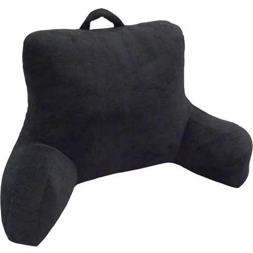 mainstays micro mink plush backrest lounger pillow rich black poly micro mink walmart com