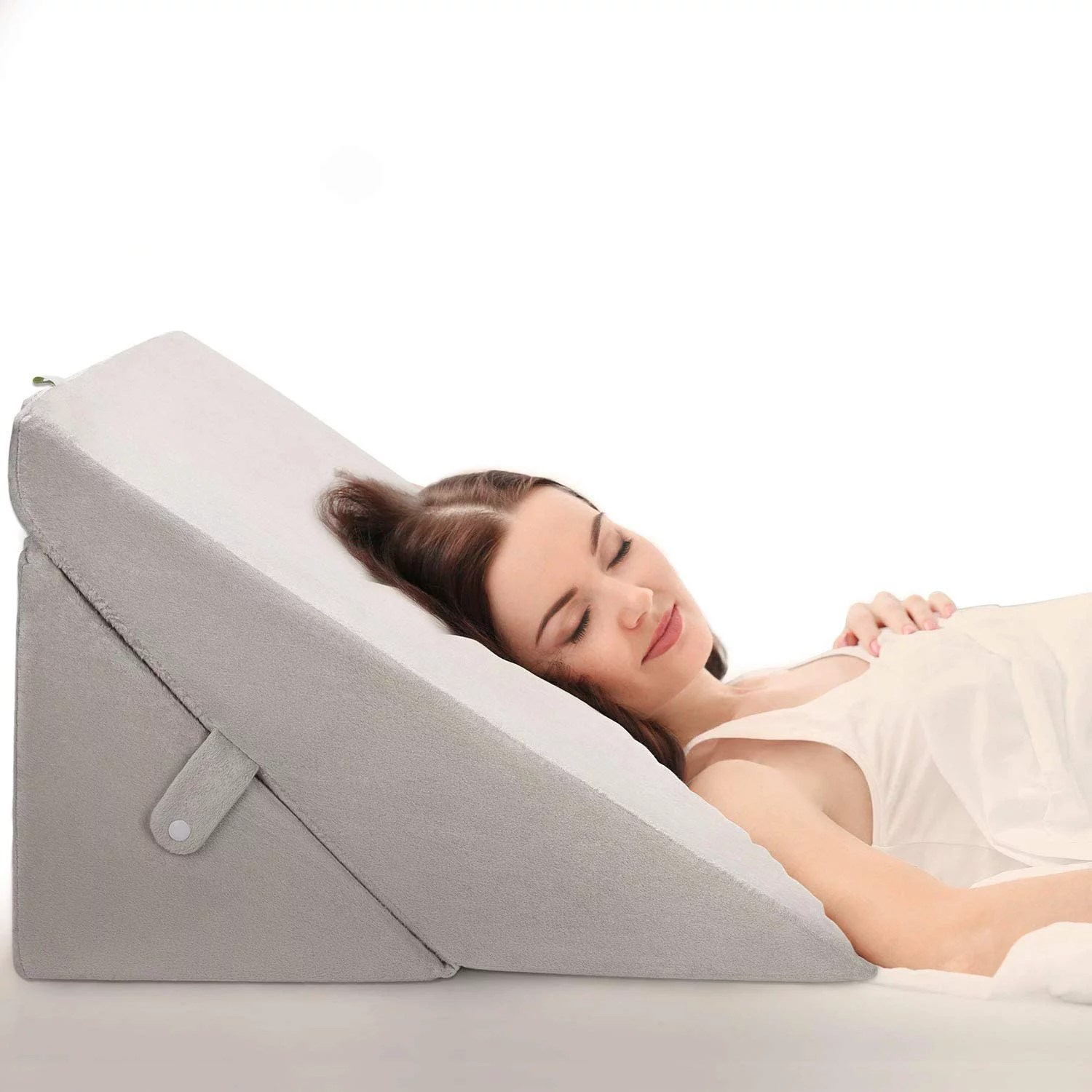 oasisspace bed wedge pillow adjustable 8 12 inch folding memory foam sleeping pillow incline cushion system for legs and back pain with washable