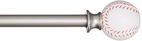 basics decorative 5 8 curtain rod with baseball finials 48 86