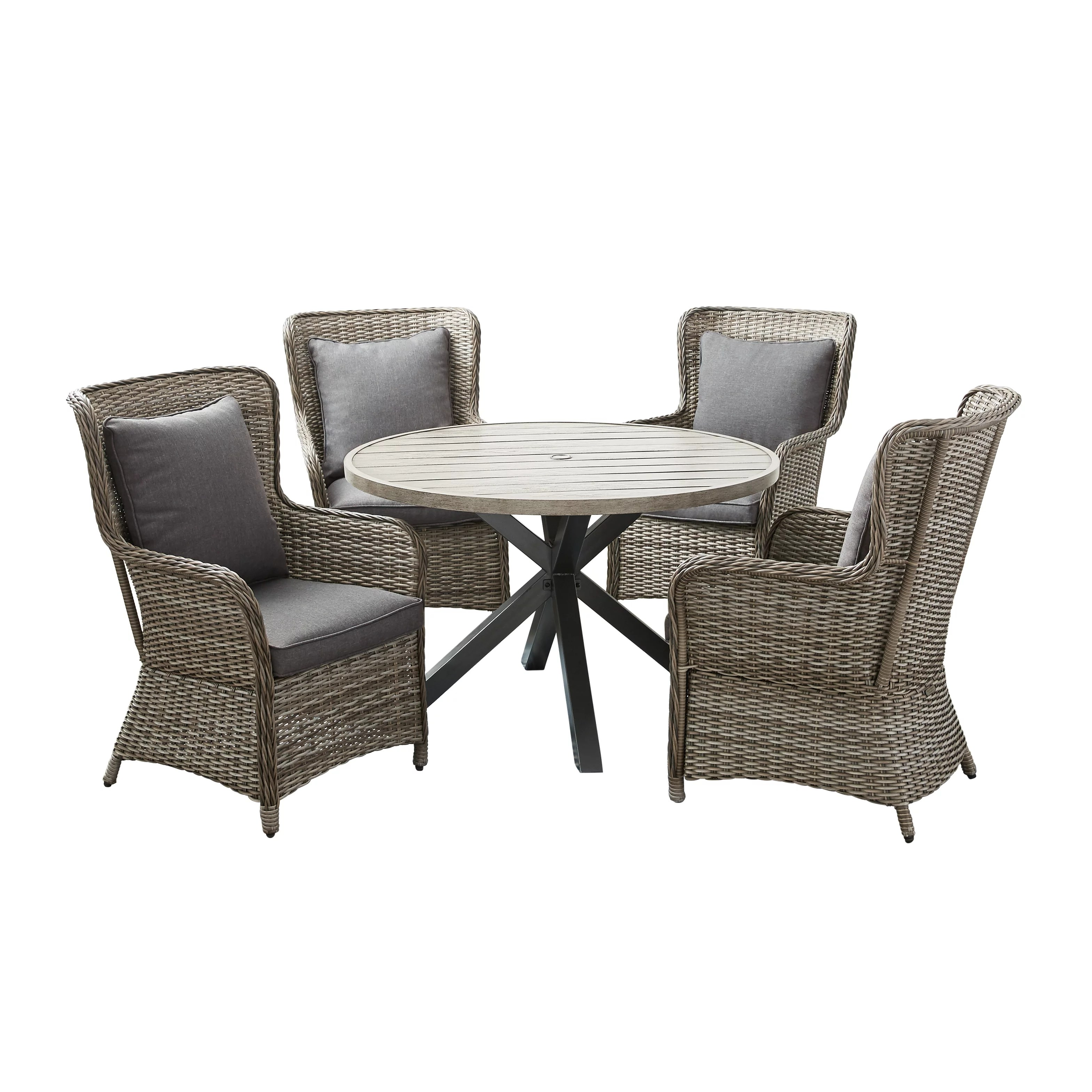 better homes and gardens victoria outdoor dining patio set cushioned wicker 5 piece walmart com
