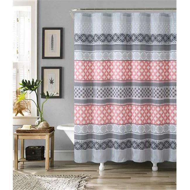 luxury home hawthorne faux silk shower curtain set grey coral 72 x 72 inch 13 piece set walmart com
