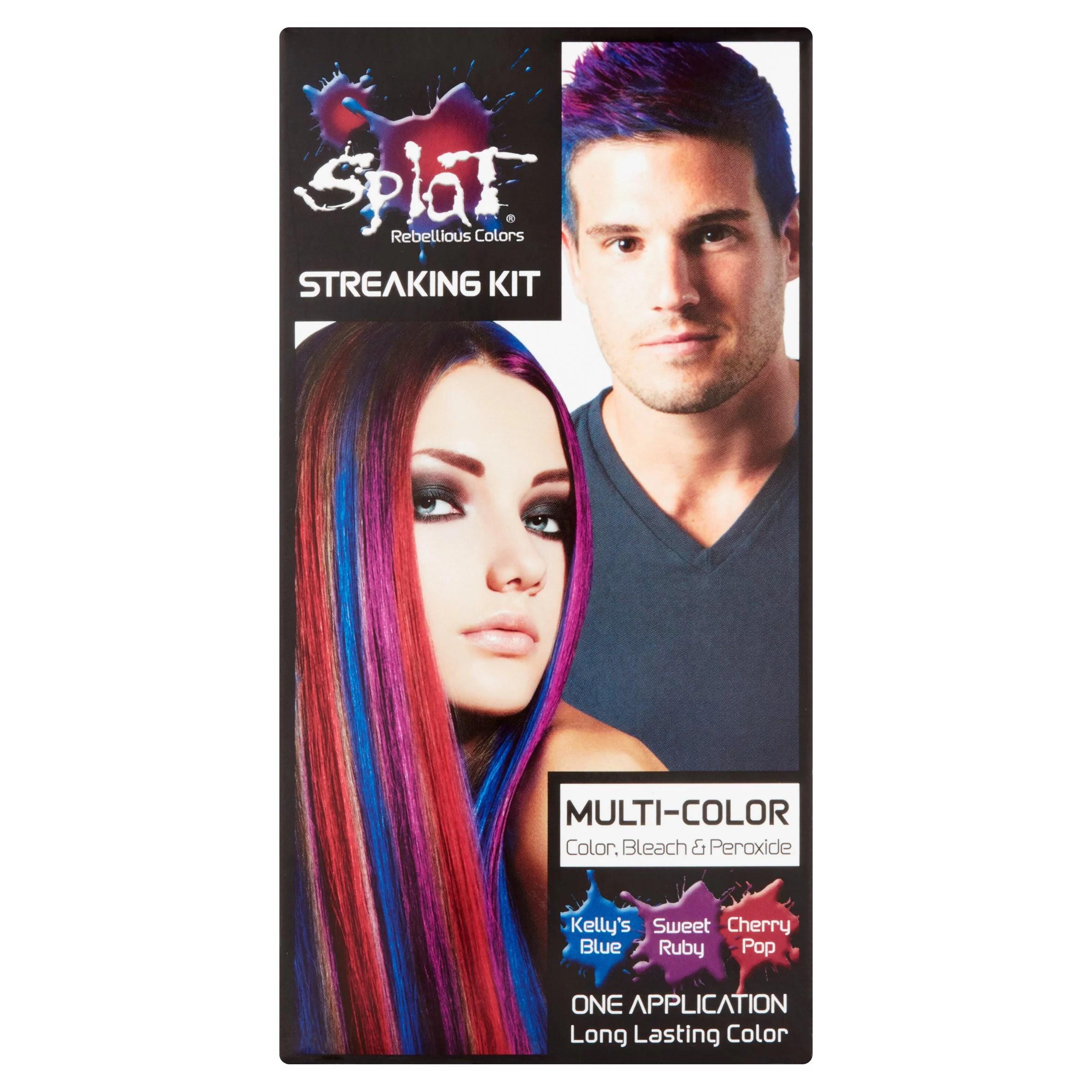 Splat Multi Color Hair Color Streaking Kit With Blue Ruby Red Hair Dye Walmart Com Walmart Com