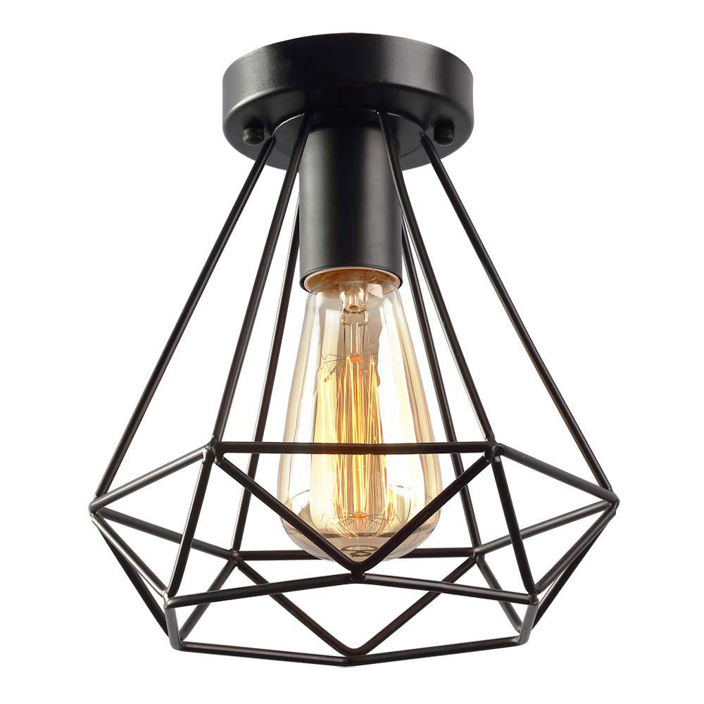 onever retro metal ceiling light cage pendent lighting fixture vintage industrial lamp diamond shape lamp