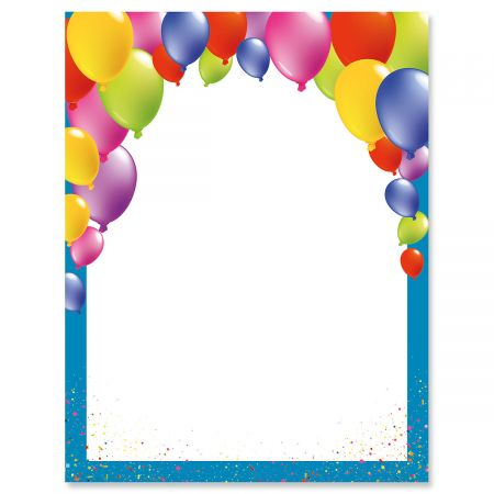birthday balloons letter papers set of 25 birthday party stationery papers 8 1 2 x 11 compatible computer paper party theme letterhead kids