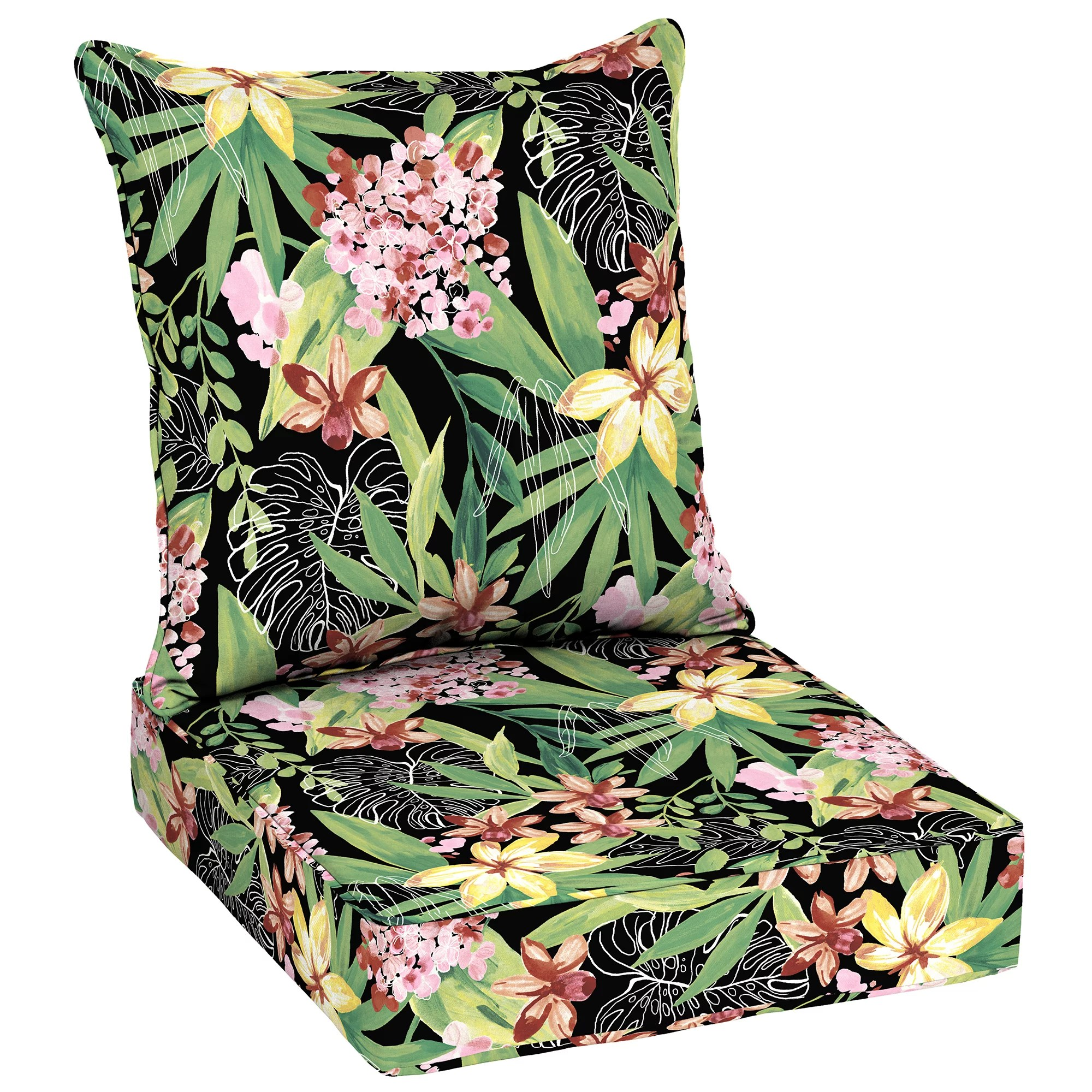 better homes gardens black tropical 48 x 24 in outdoor deep seat cushion set with enviroguard