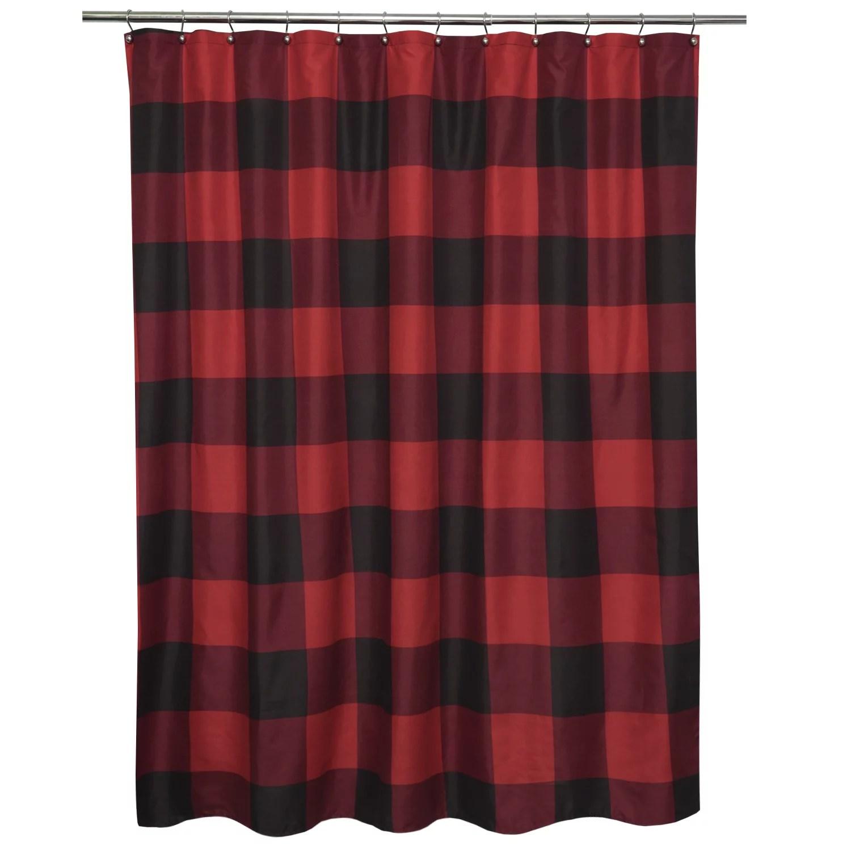 Buffalo Check Fabric Shower Curtain 72 X 72 Burgundy Black