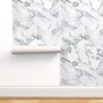 Removable Water Activated Wallpaper Grey Chevron Marble Watercolor Marbled Walmart Com Walmart Com