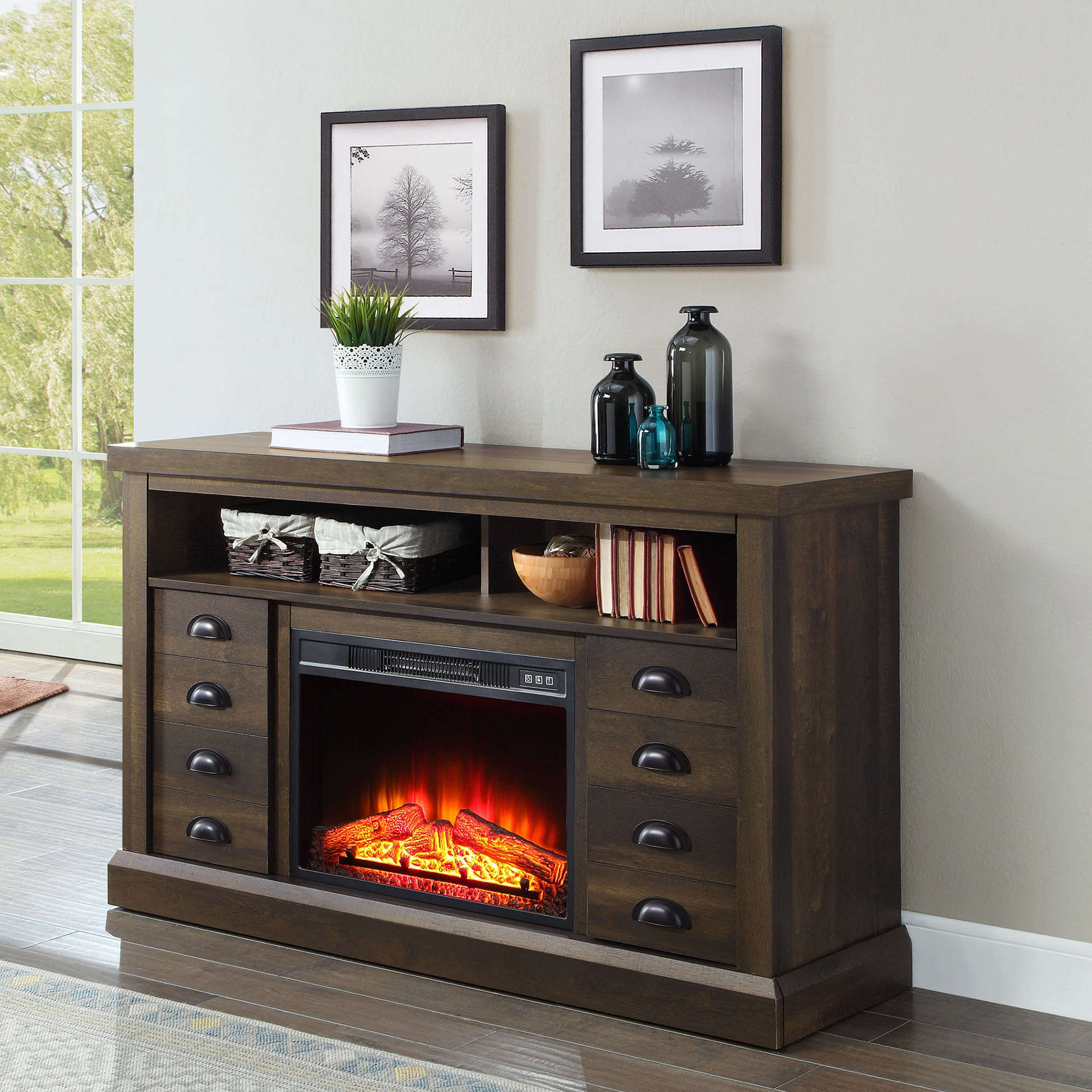 60 Inch TV Stand With Fireplace Media Console Electric Entertainment Center SALE EBay
