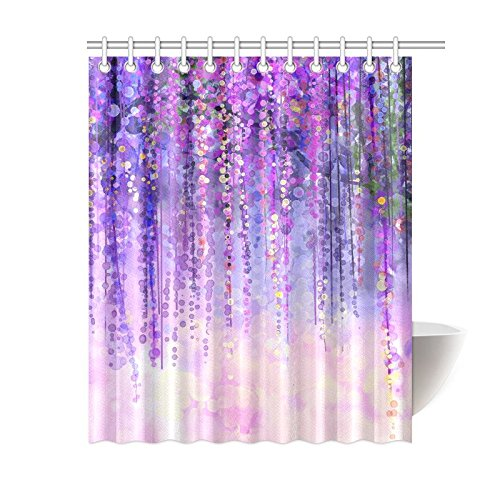 mypop wisteria flowers tree home decor purple violet floral polyester fabric shower curtain bathroom sets with hooks 60 x 72 inches