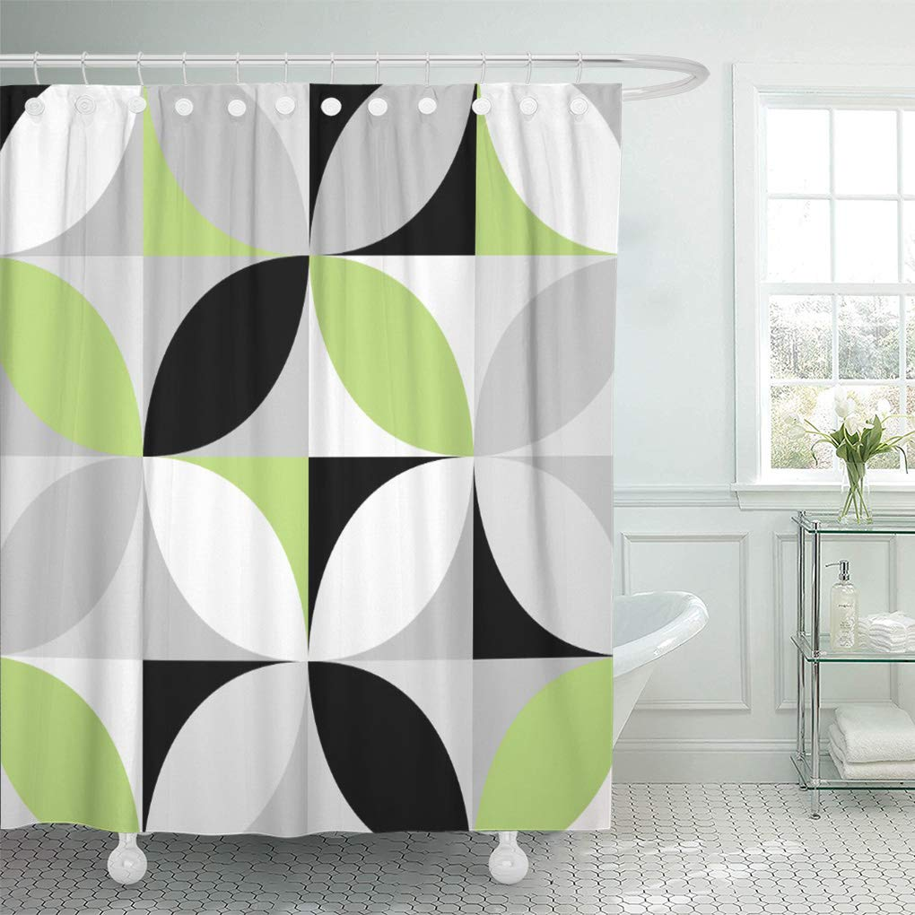 suttom green black lime mosaic pattern gray grey white retro shower curtain 66x72 inch