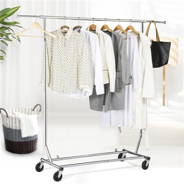 easyfashion premium stainless steel adjustable and collapsible clothing garment rack silver