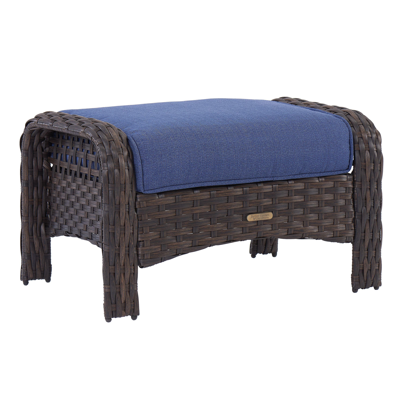 better homes gardens 2 piece wicker patio ottoman set with blue cushions walmart com