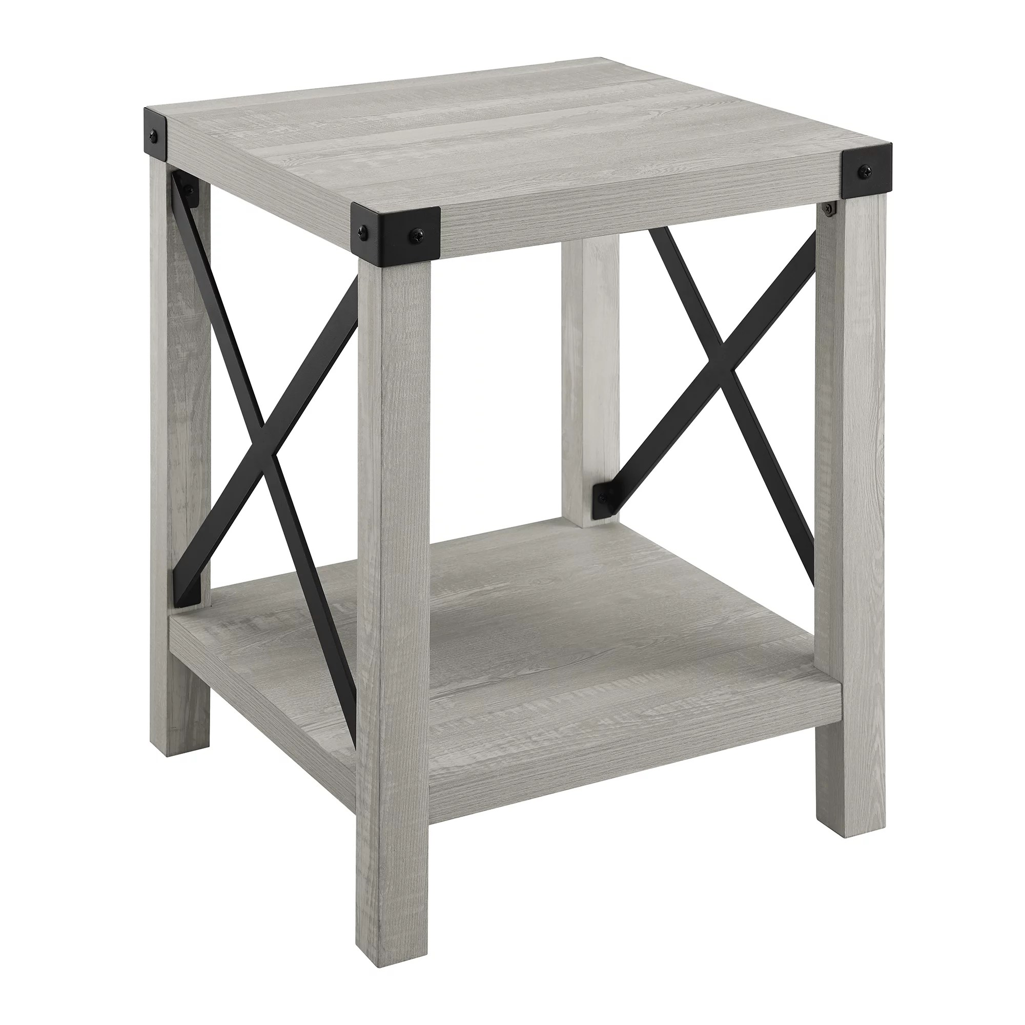 magnolia metal x reclaimed barnwood end table by desert fields