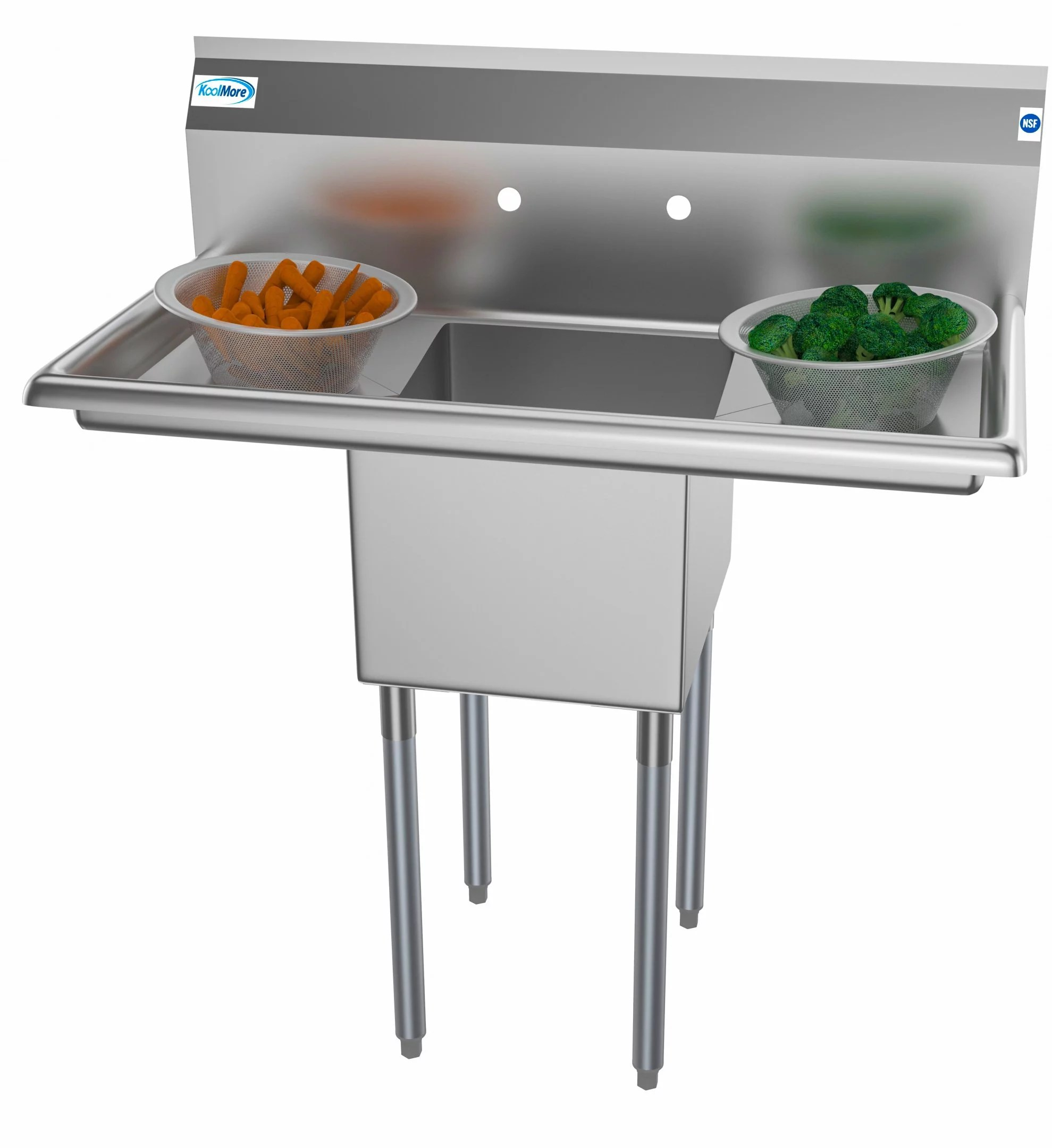 1 compartment 38 stainless steel commercial kitchen prep utility sink with 2 drainboards bowl size 14 x 16 x 11