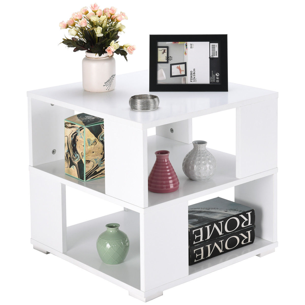 gymax modern wood square coffee end side table with storage cube shelves white walmart com