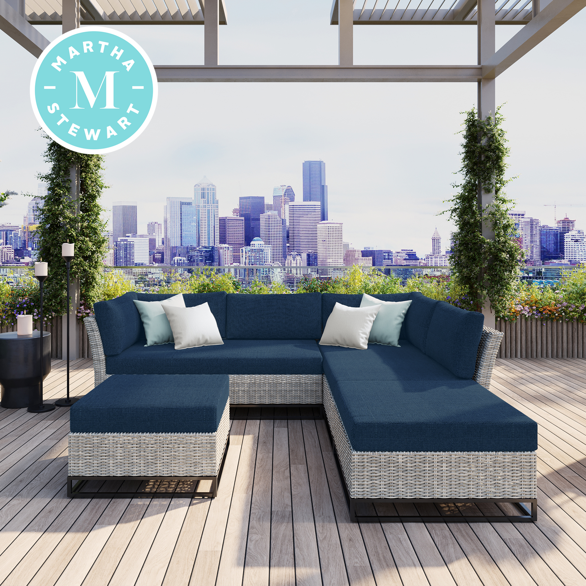 martha stewart martha stewart clarence 4 piece aluminum frame patio conversation set with navy blue olefin cushions from walmart accuweather