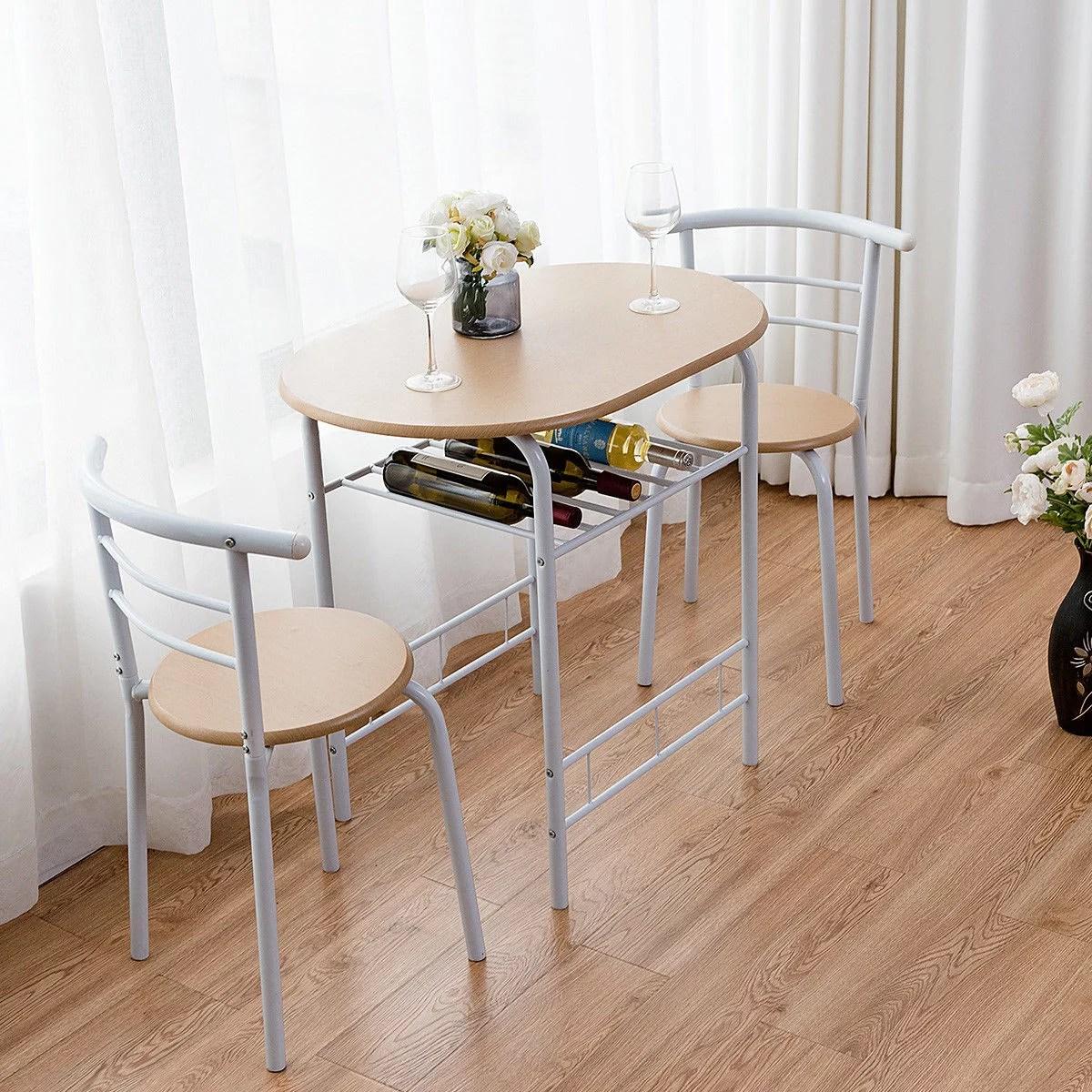 costway ensemble table et chaises pour 2 personnes avec 1 table et 2 chaises pour salle a manger et cuisine en metal et en mdf