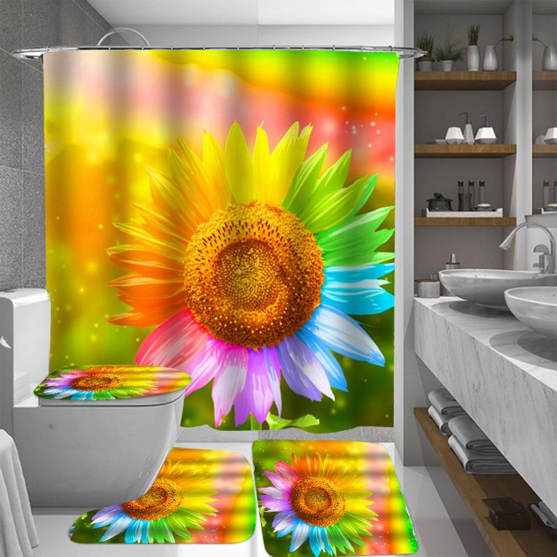 sunflower bathroom bath shower curtains waterproof bathroom set exotic fabric shower curtain with accessories or 3pcs toilet cover mats non slip rugs