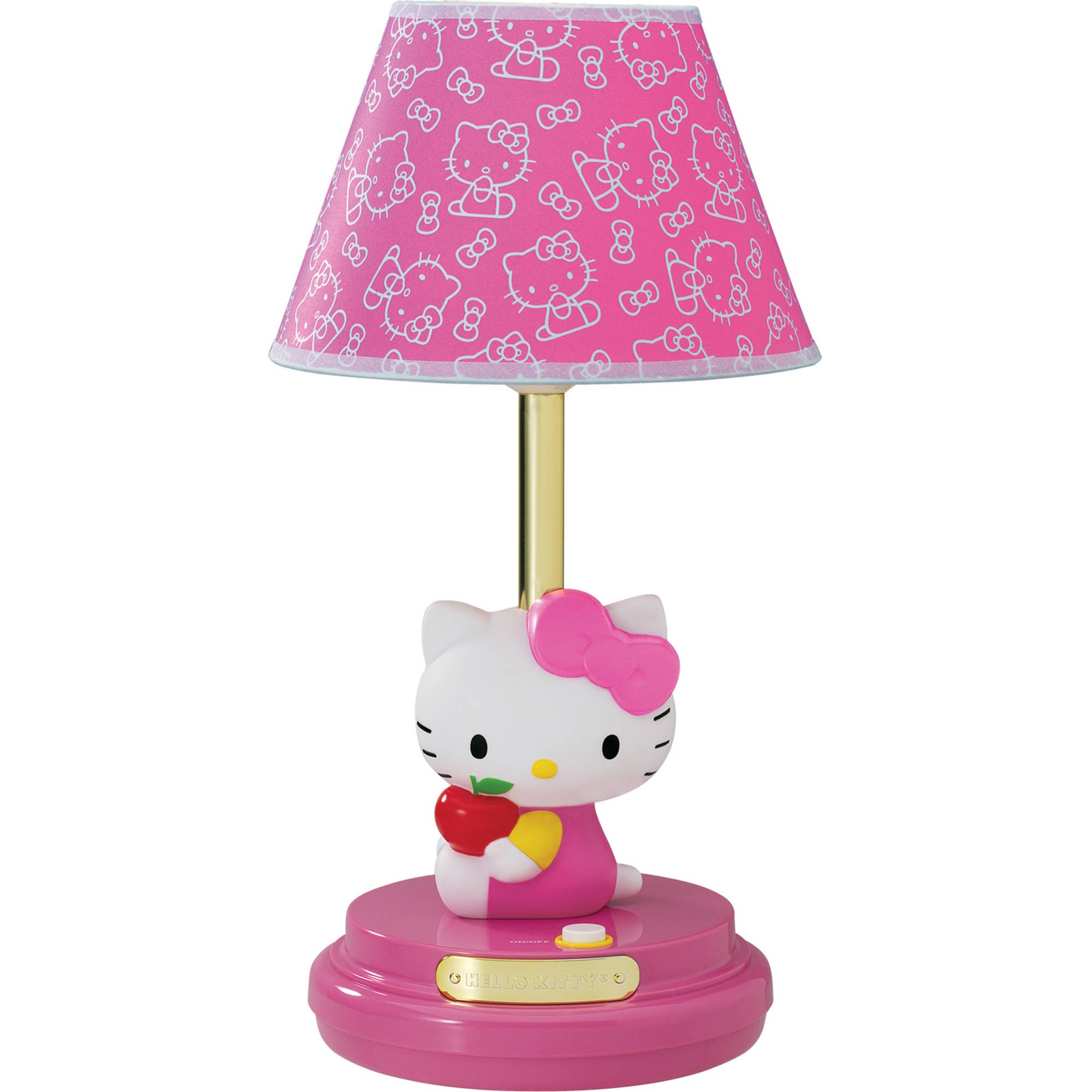 Kids Table Lamp Hello Kitty Pink Girls Lampshade Lighting