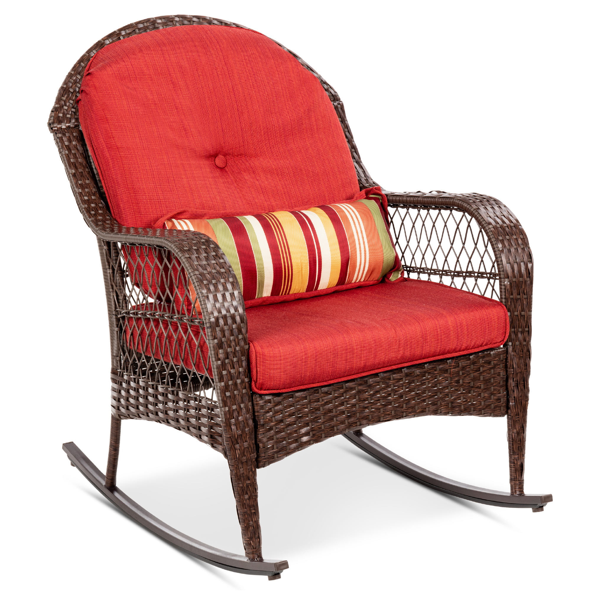best choice products outdoor wicker rocking chair for patio porch w steel frame weather resistant cushions red