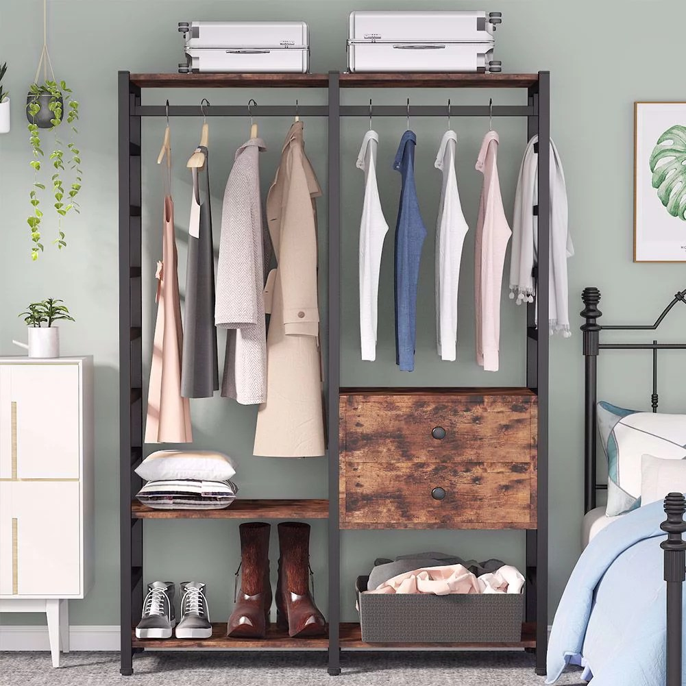 tribesigns large free standing closet organizer rustic heavy duty clothes closet metal garment rack wardrobe storage organizer with hanging bar