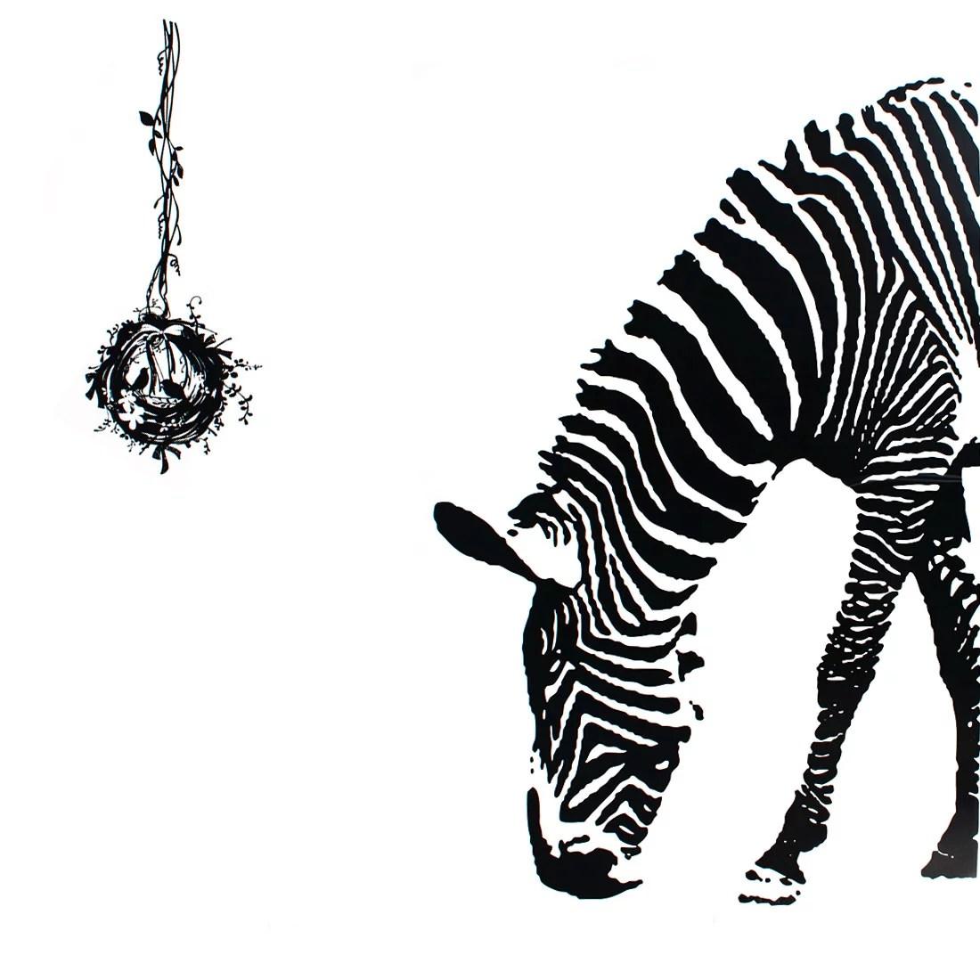 Bedroom Accent Self Adhesive Zebra Animal Wall Sticker