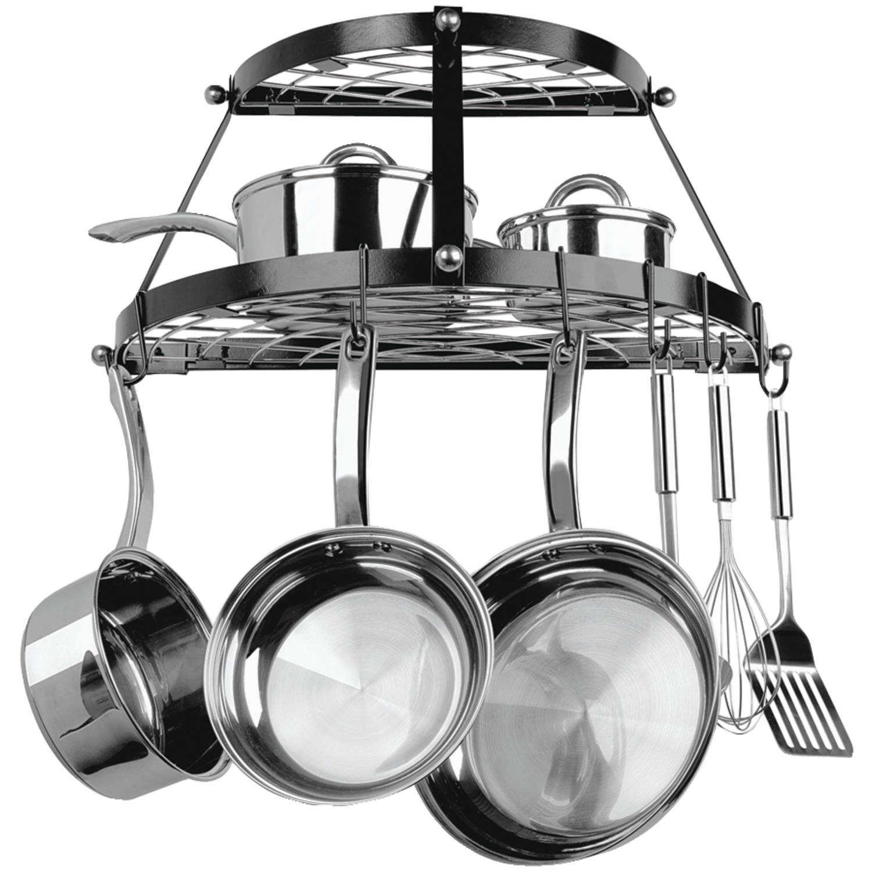 range kleen cw6002r double shelf wall mount pot rack black