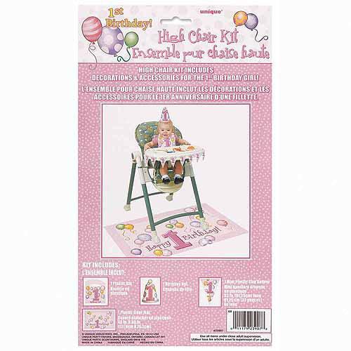 Pink Balloons 1st Birthday High Chair Decorations Kit 4pc Walmart Com Walmart Com