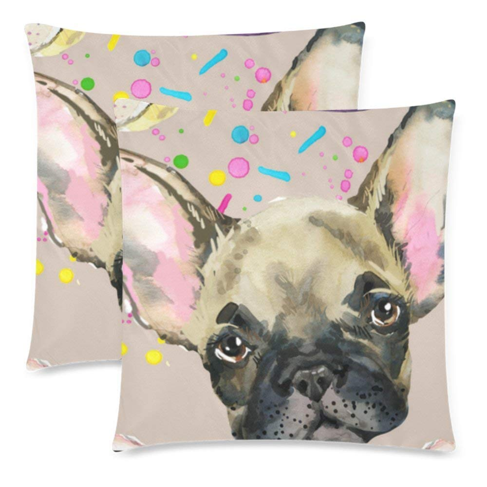 wopop dog pillow case cover 18x18 inches french bulldog zippered throw pillowcase cushion case set of 2