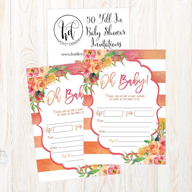 50 Fill In Cute Baby Shower Invitations