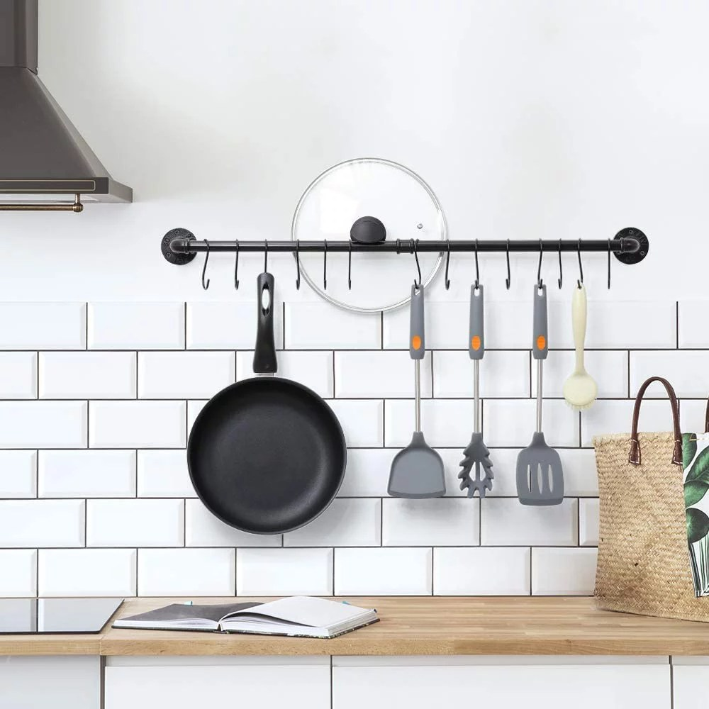 wall hanging pot rack industrial pipe pot rack wall mounted kitchen pot lid organizer hanging rail cookware rack with 14 s hooks black