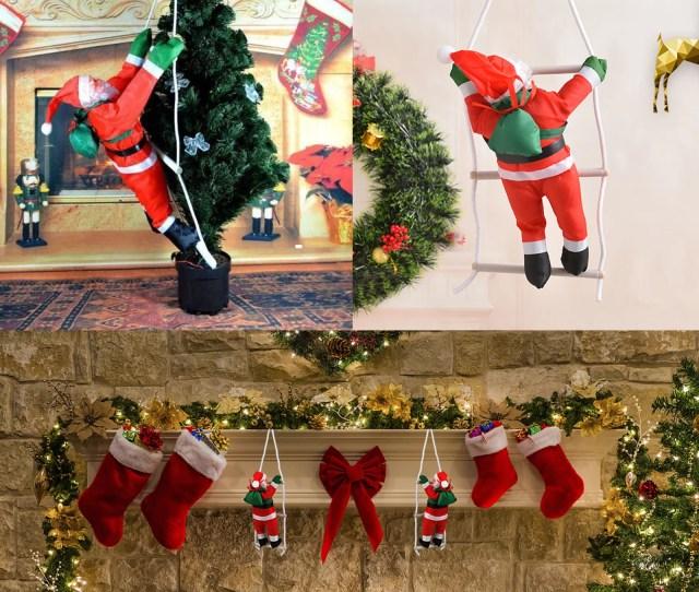 Santa Claus Climbing On Rope Ladder Christmas Tree Indoor Outdoor Hanging Ornament Decor Christmas Xmas Party Home Door Wall Decoration Walmart Com