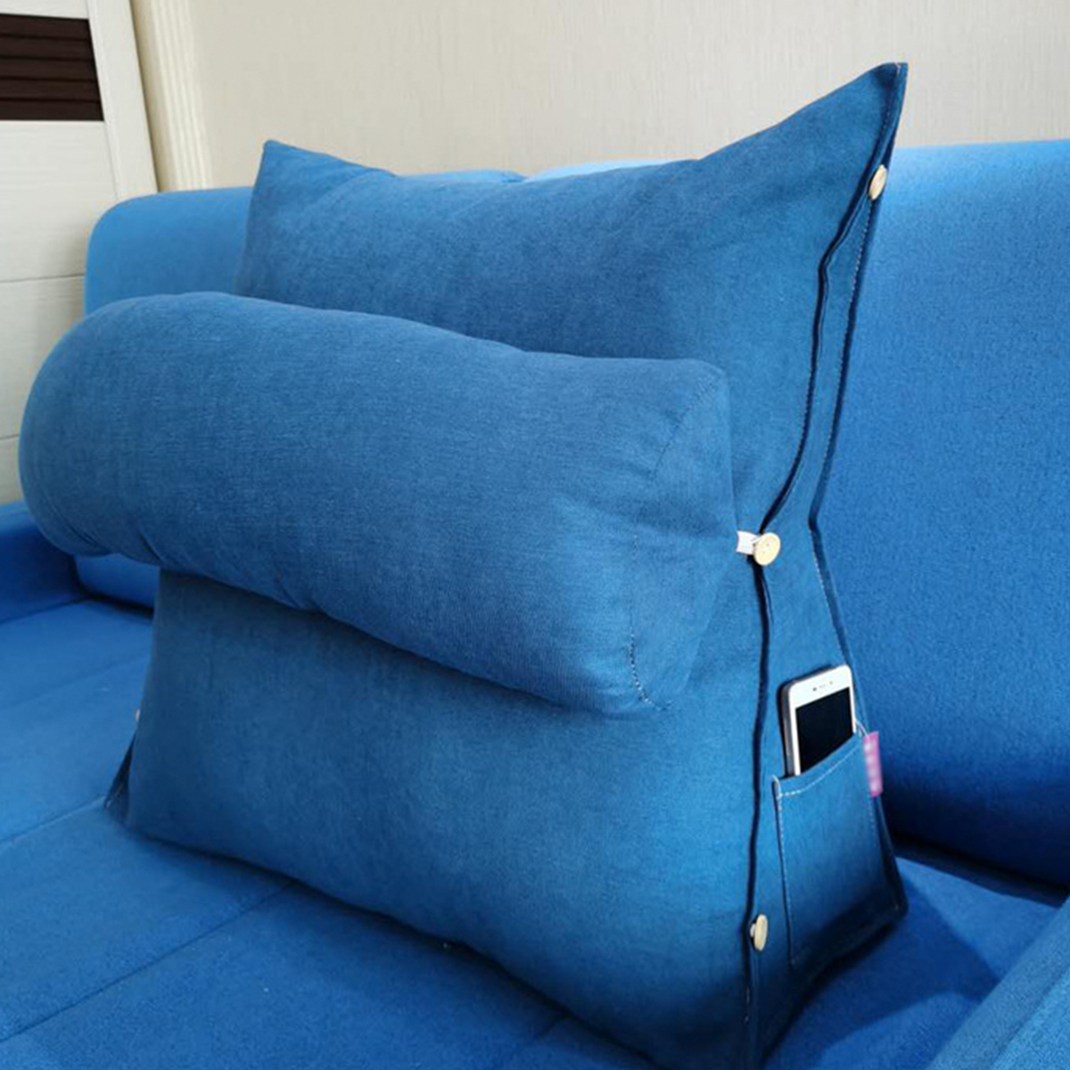 8 colours adjustable neck support back wedge cushion pillow sofa chair rest neck support with phone pocket