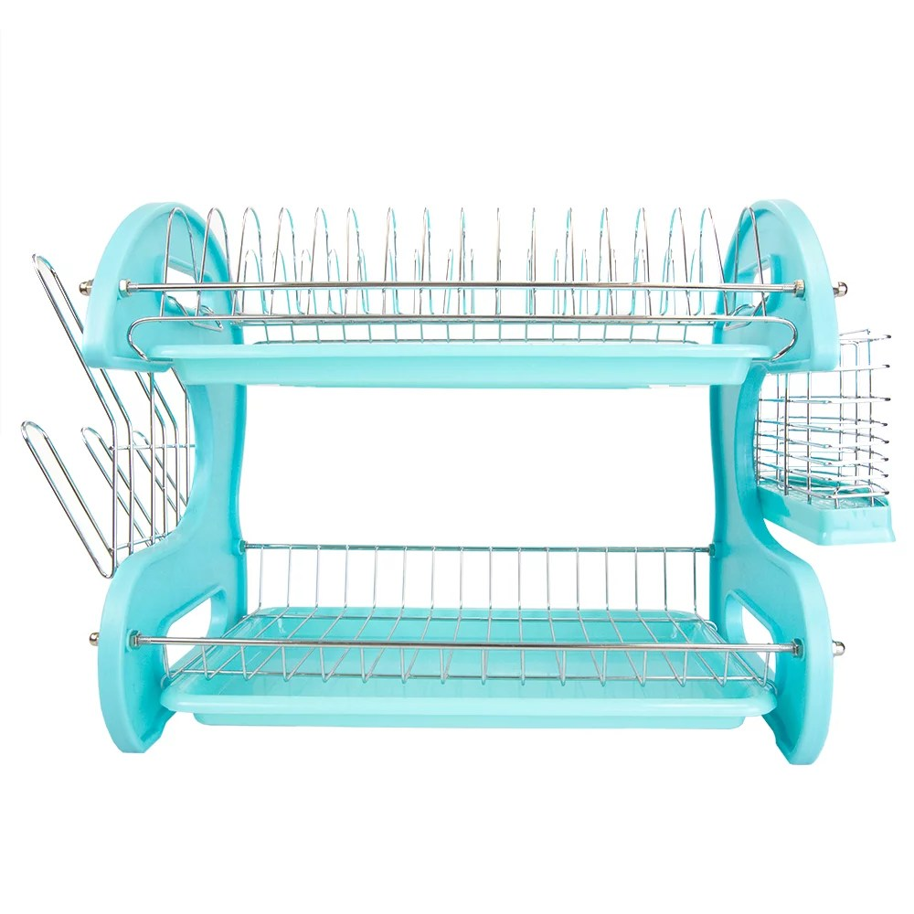 home basics 2 tier turquoise kitchen sink dish drainer drying rack