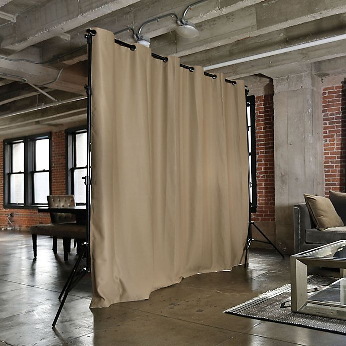 roomdividersnow x large freestanding room divider kit b with 9 foot curtain panel in mocha