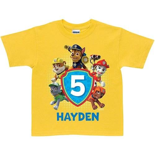 Nick Jr Personalized Paw Patrol Birthday Yellow T Shirt Walmart Com Walmart Com