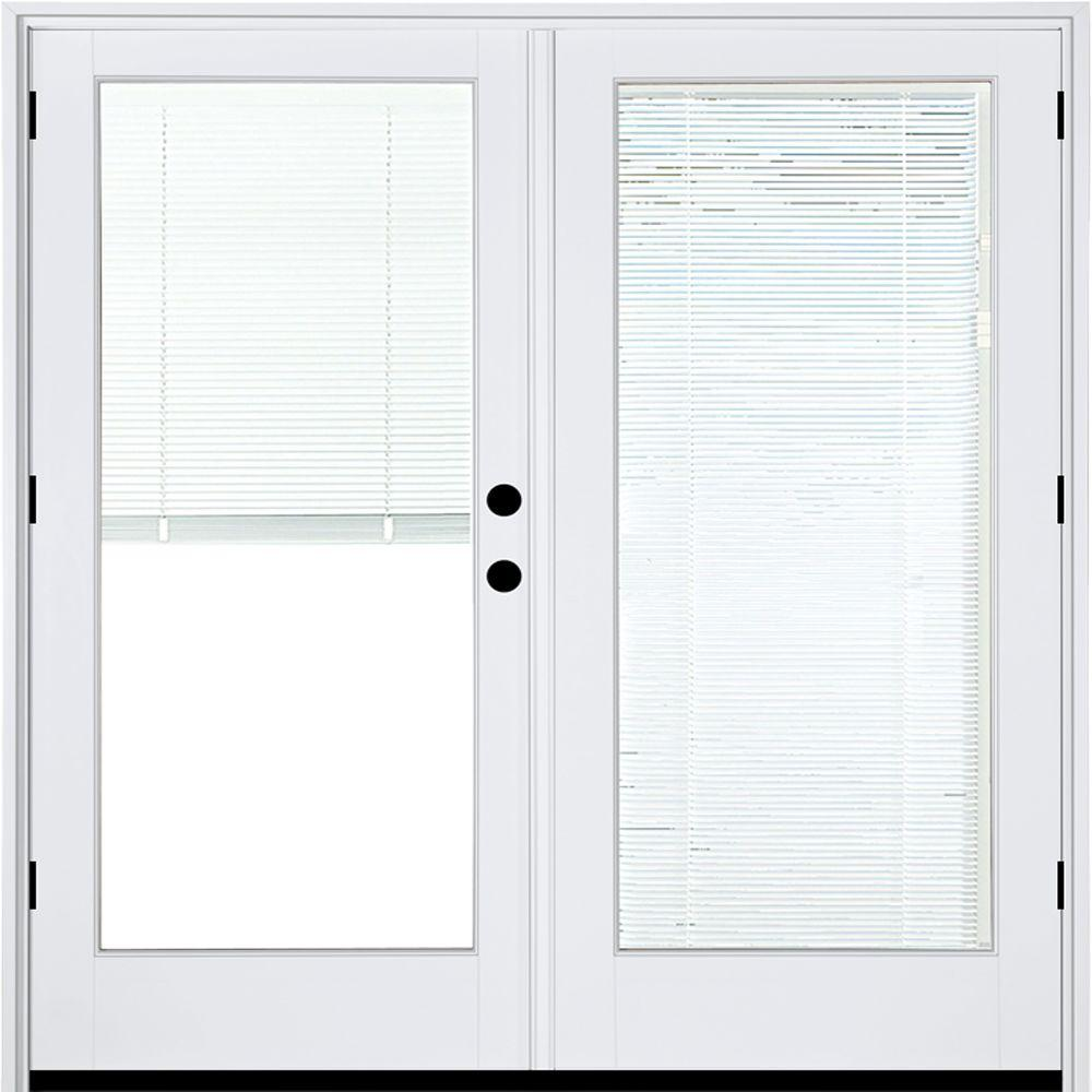 60 in x 80 in fiberglass smooth white left hand outswing hinged patio door with low e built in blinds