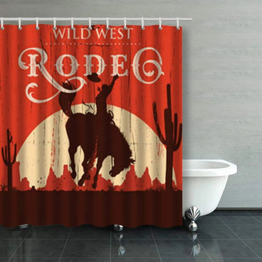 artjia rodeo cowboy riding wild horse on vintage western horses shower curtains bathroom curtain 66x72 inch